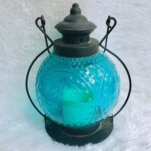 Other - Sea Glass Blue Grooved Faux Candle Handle Lantern